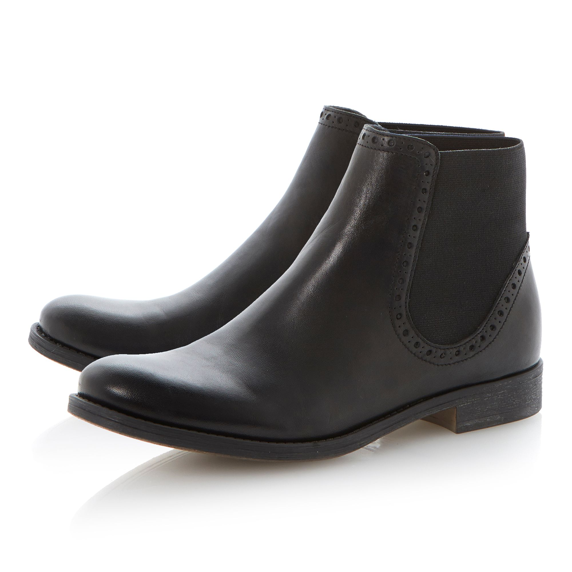 Paddles leather round toe chelsea ankle boots