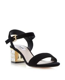 Harah suede jewelled block heel sandals