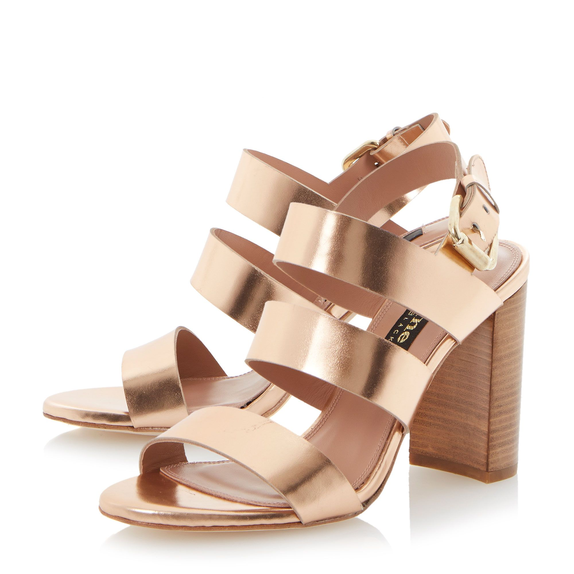 Larna leather stacked heel buckle sandals