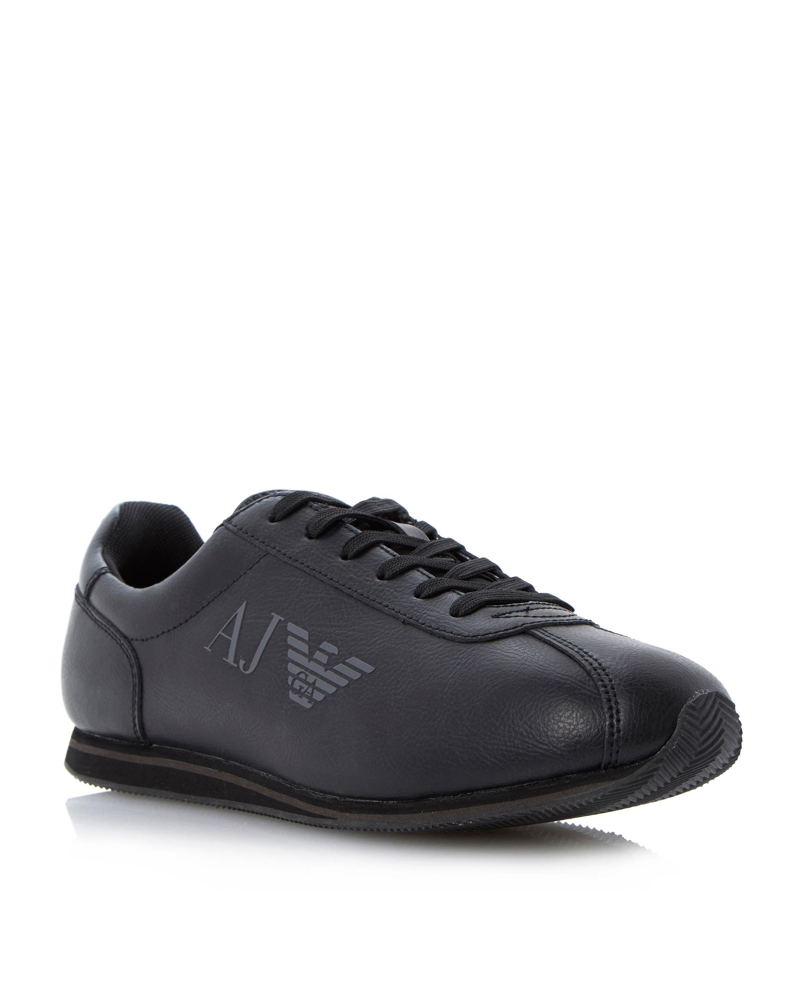 Leather side logo lace up trainers