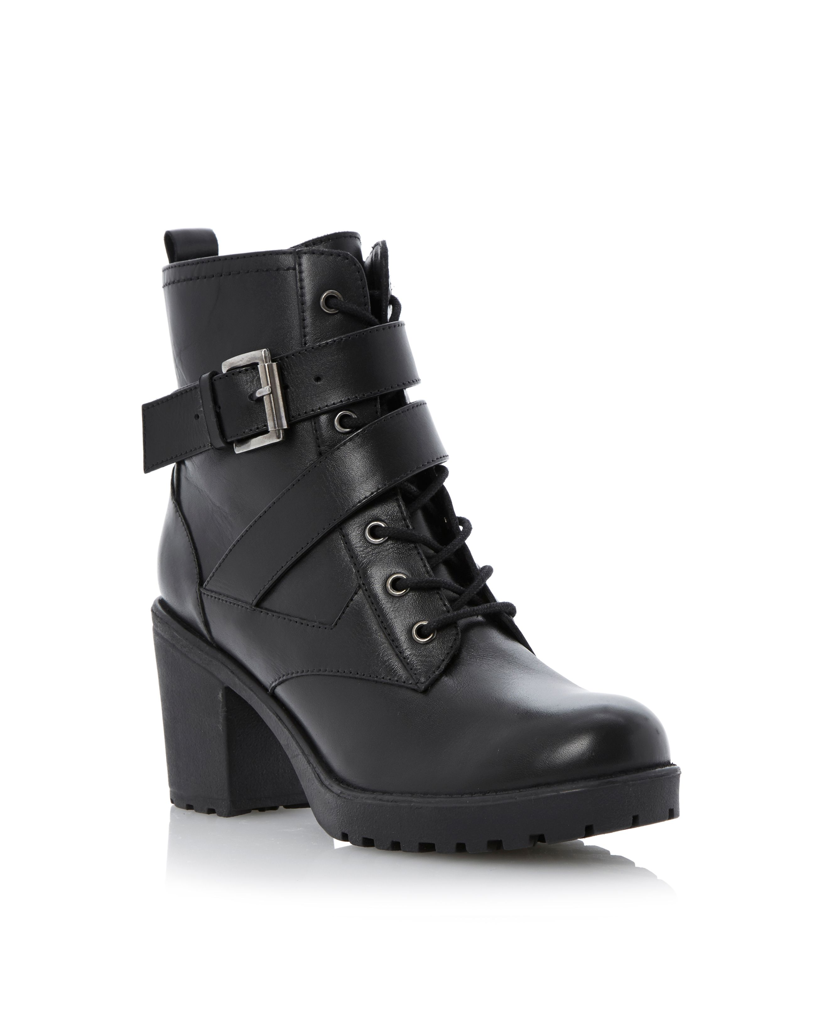 Preeesha zip leather block heel round toe boots
