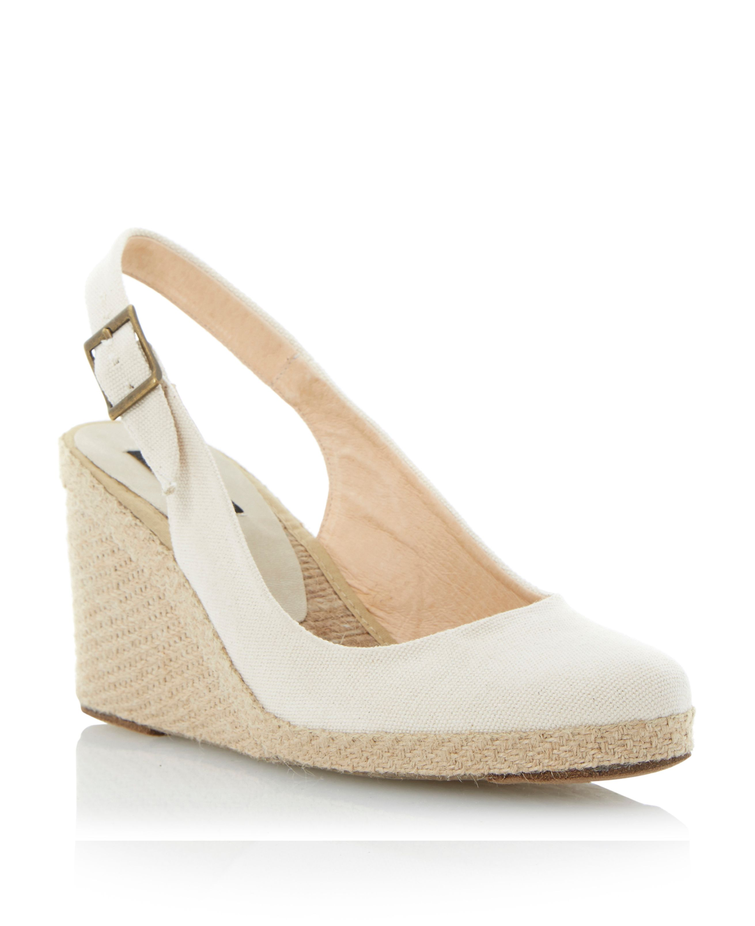 Imperia d fabric round wedge buckle espadrilles