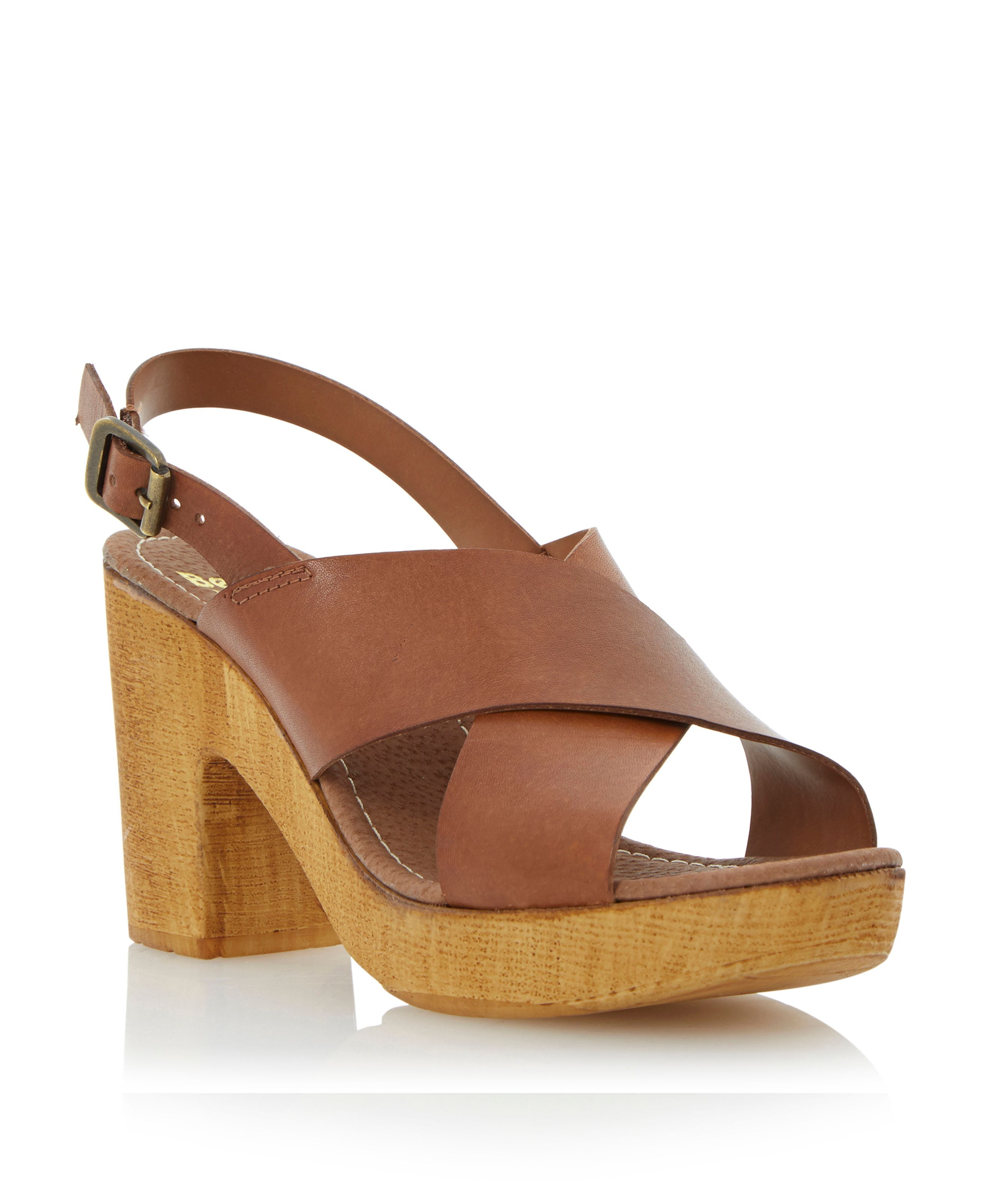 Heeley leather cross vamp heeled sandals