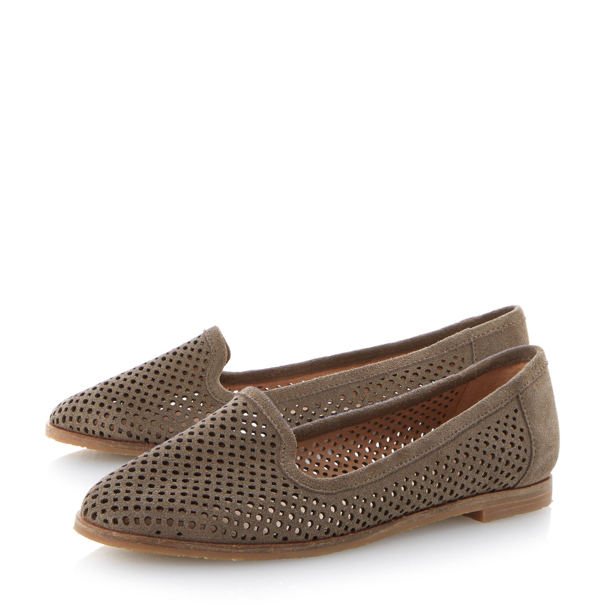 Langham leather flat laser cut slipper shoes