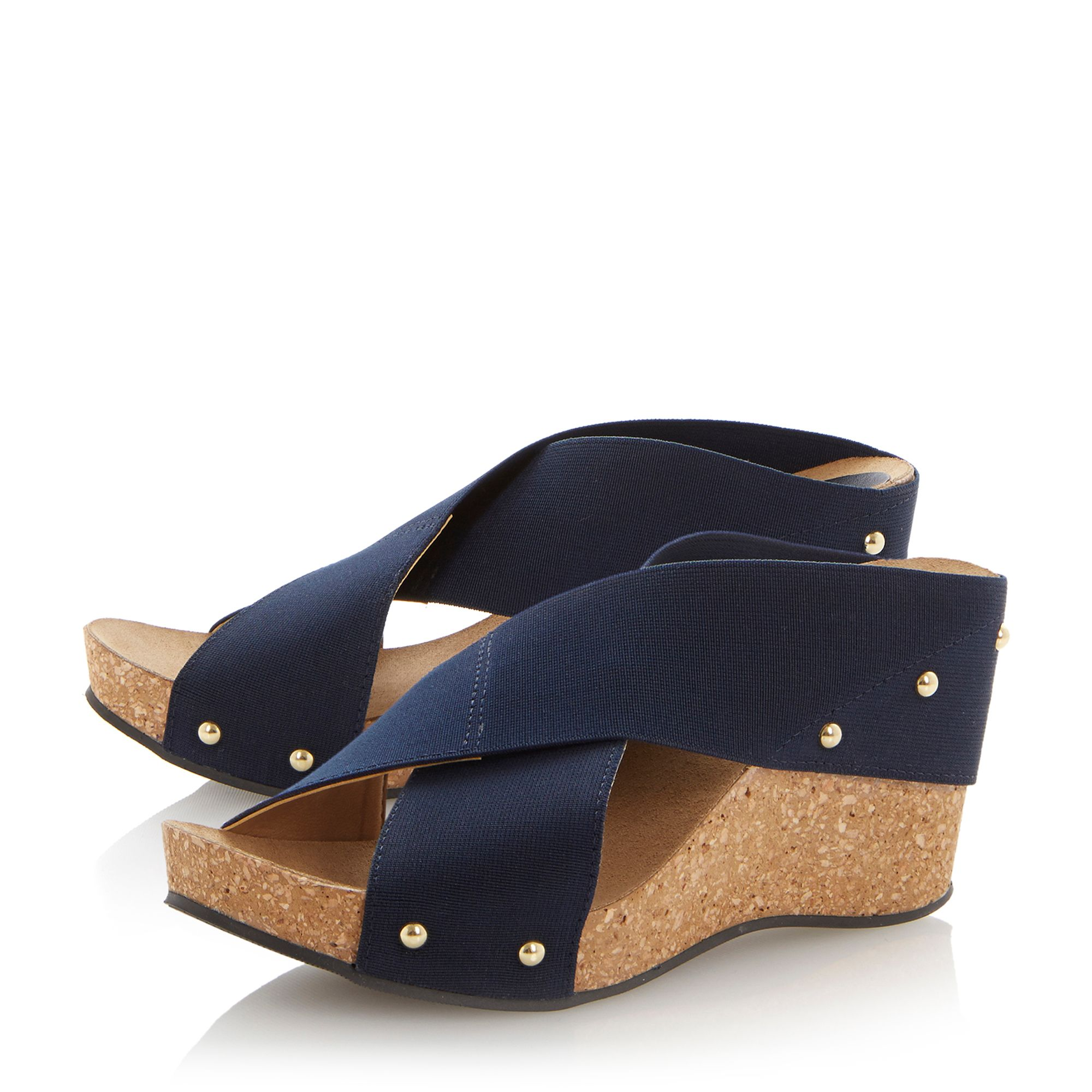 Gladley fabric wedge elastic vamp sandals