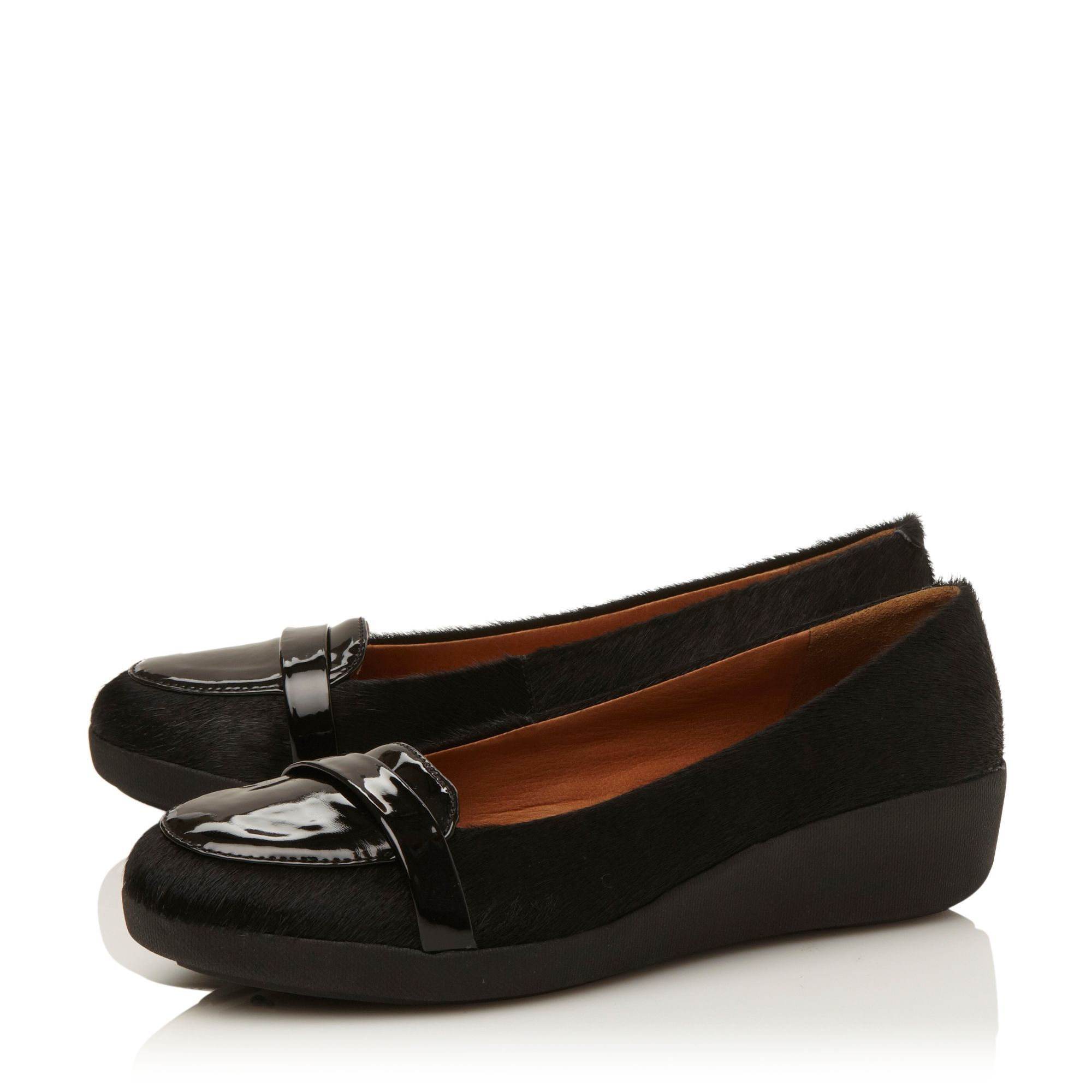 F-pop leather and pony loafers
