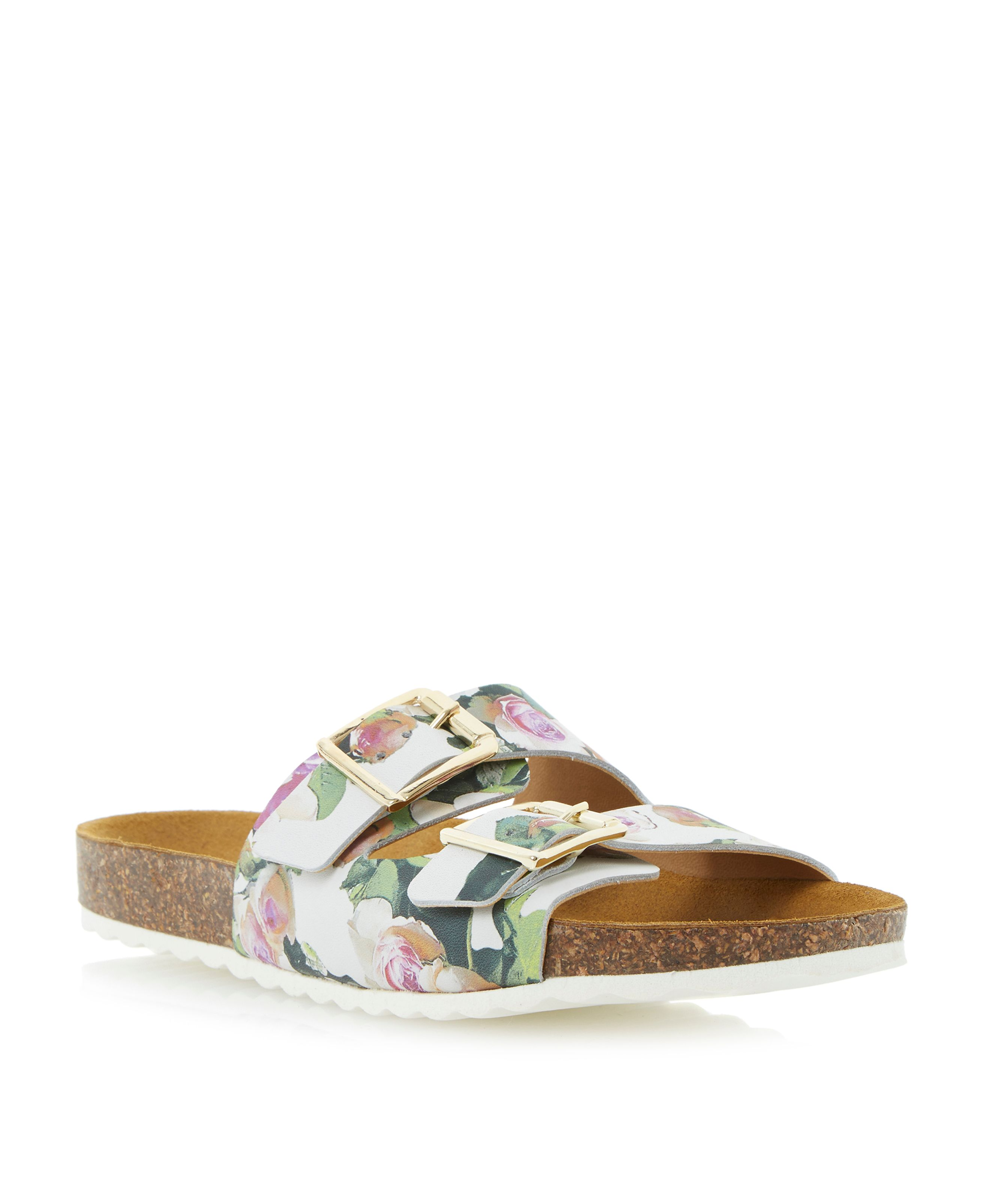Jane leather floral footbed sandals