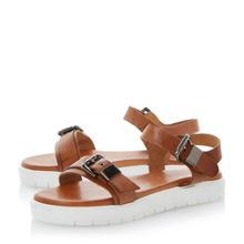 Laurie leather flat chunky rubber sole sandals