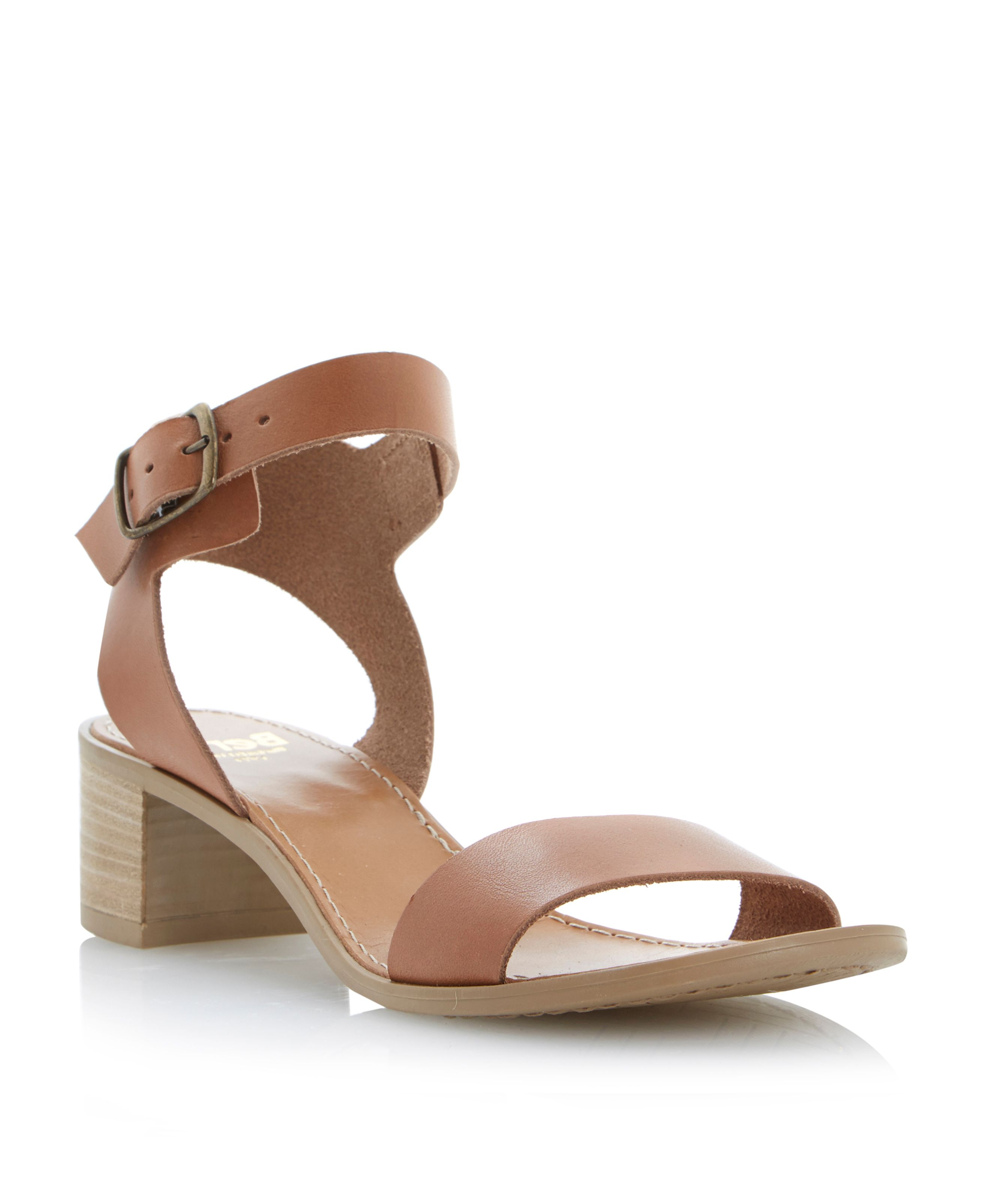 Hobart leather ankle strap block heel sandals