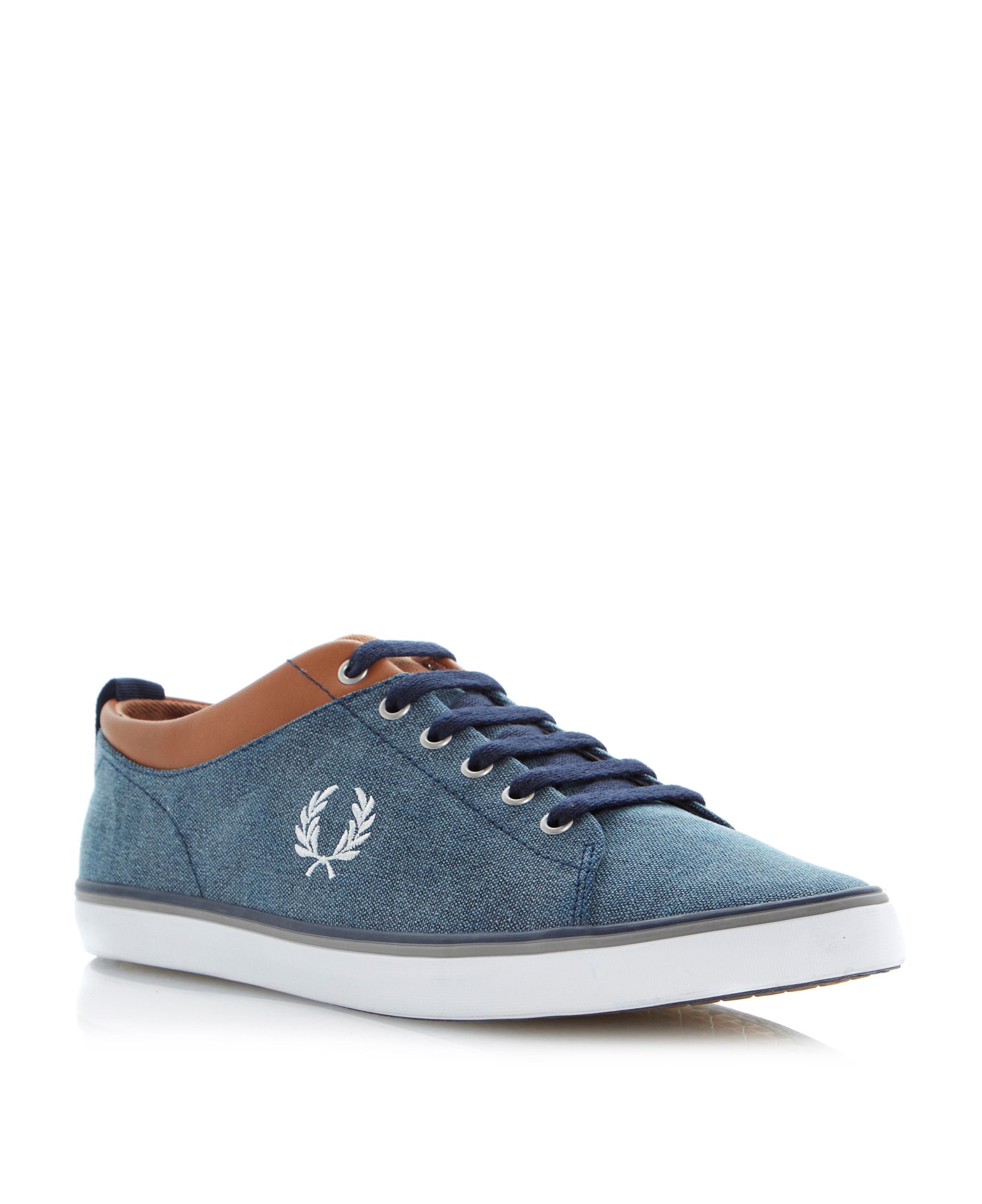 Hallam printed canvas lace up trainers
