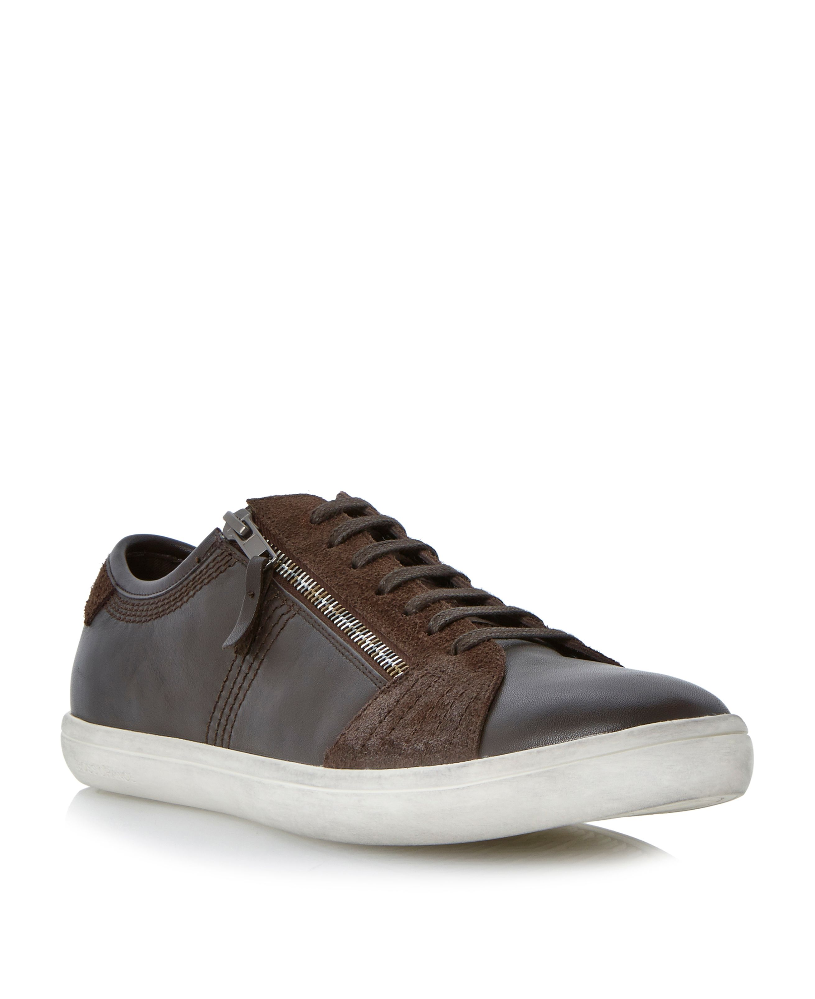 Soundy cupsole side zip lace up trainers