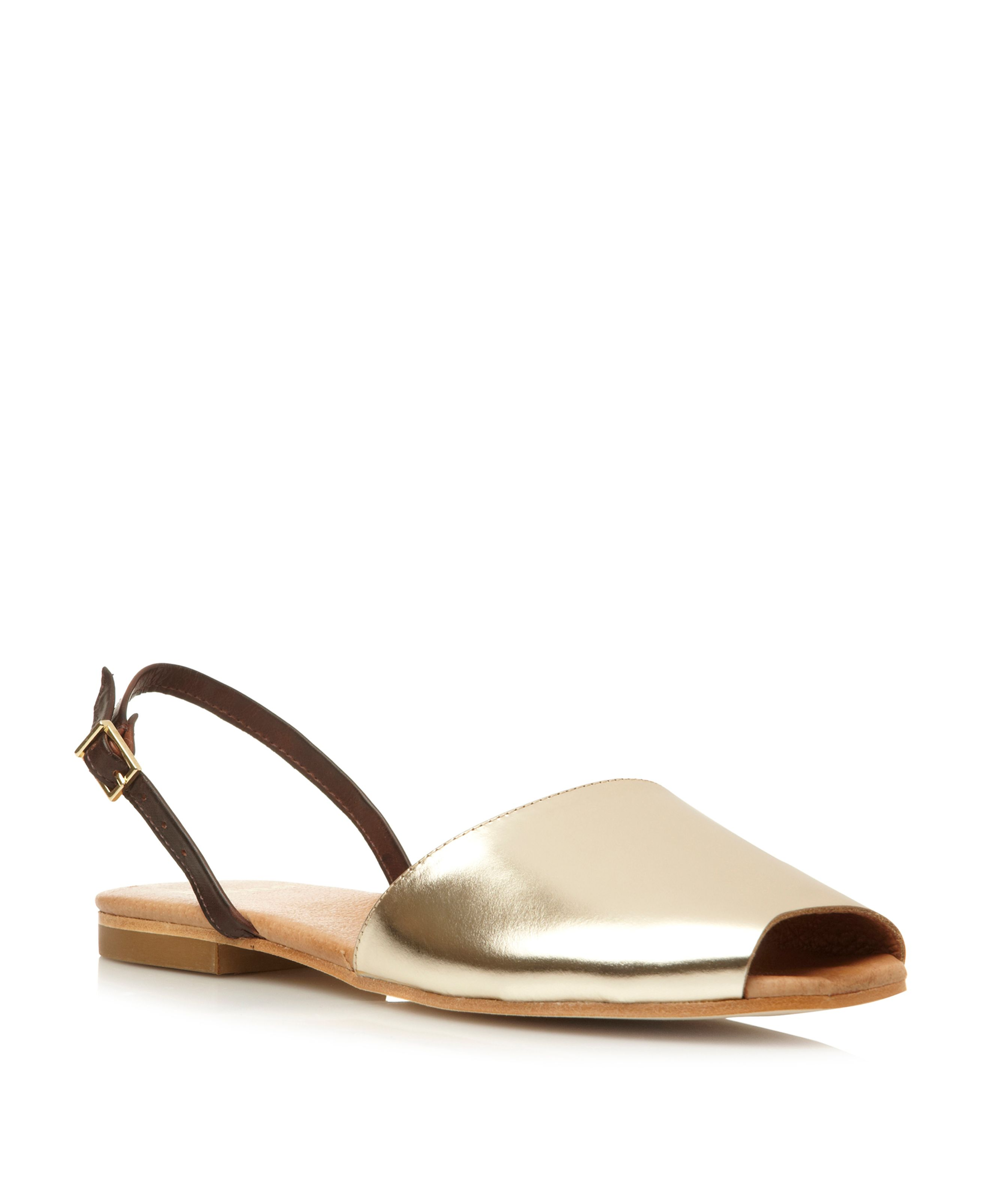 Leticia leather peeptoe flat shoes