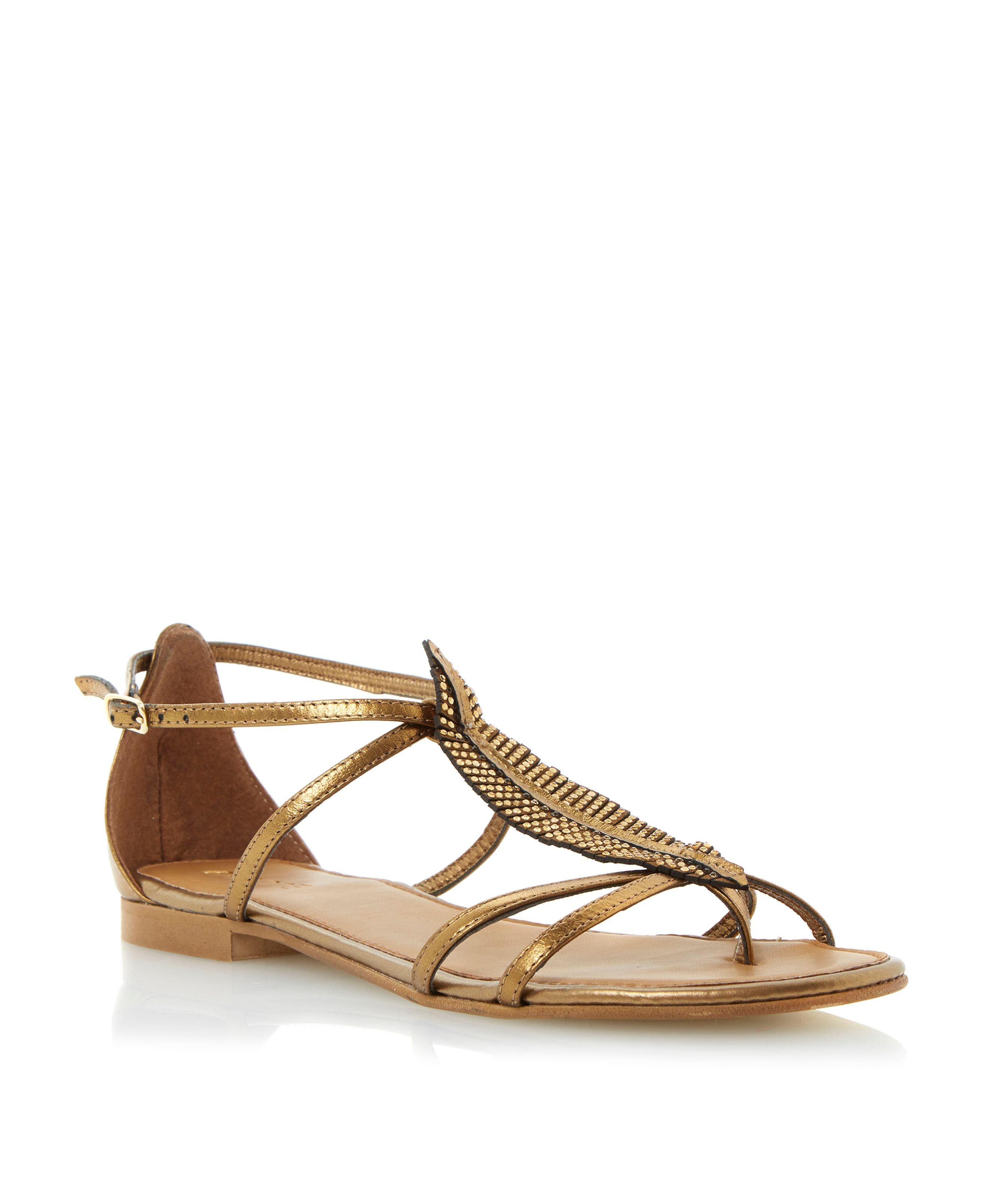 Jeather leather flat feather diamante sandals