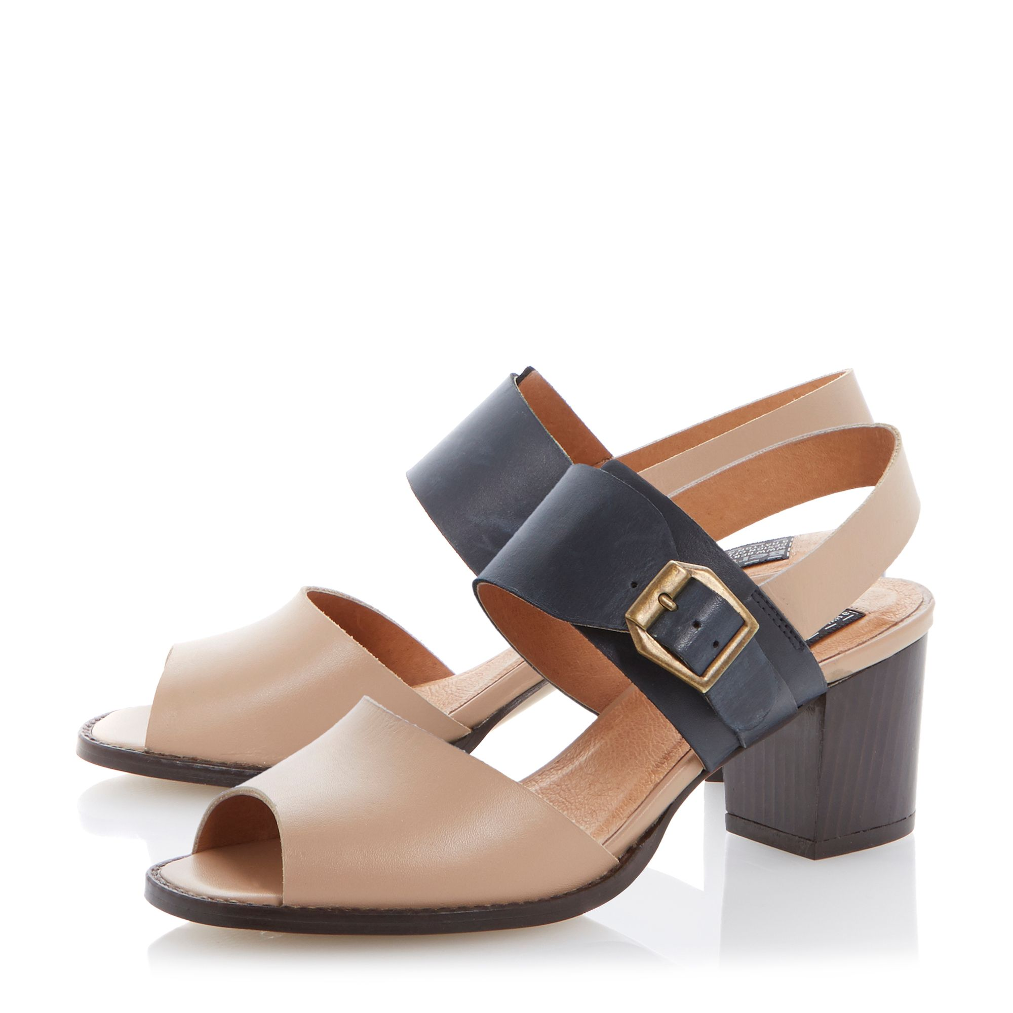 Halla leather block heel buckle sandals