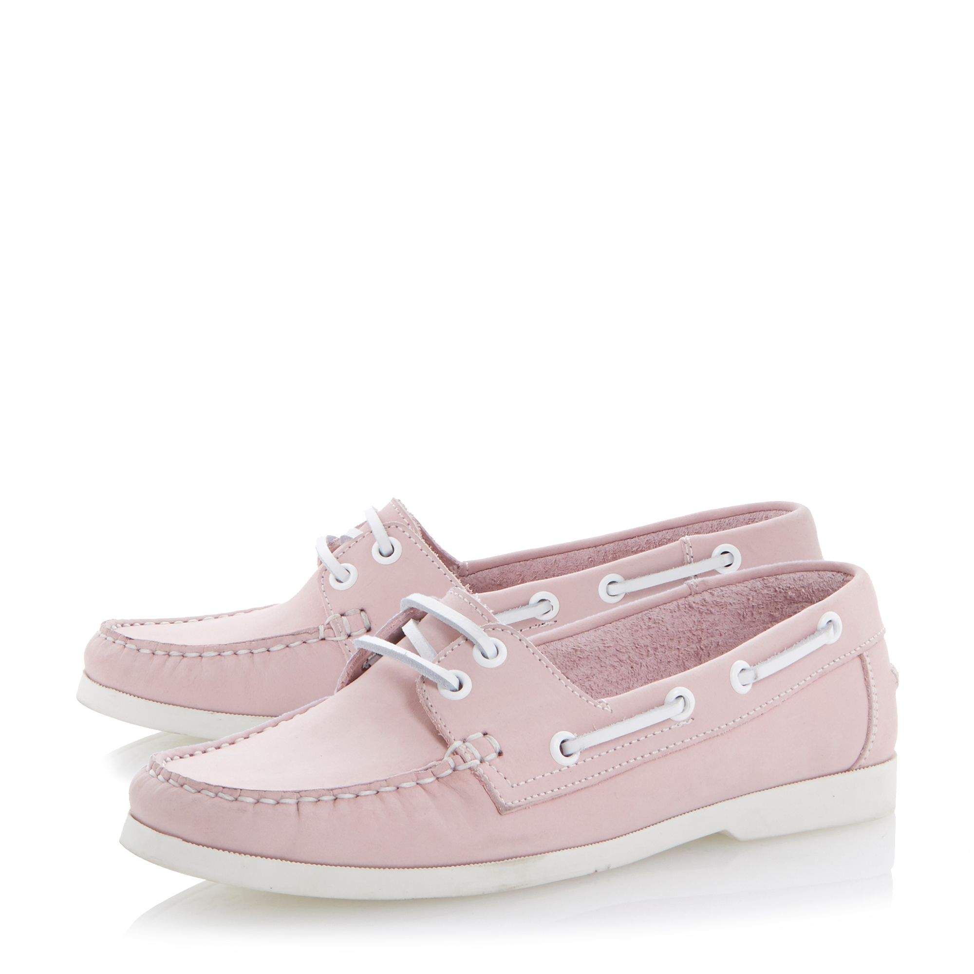 Linken leather peeptoe wedge laced boat shoes