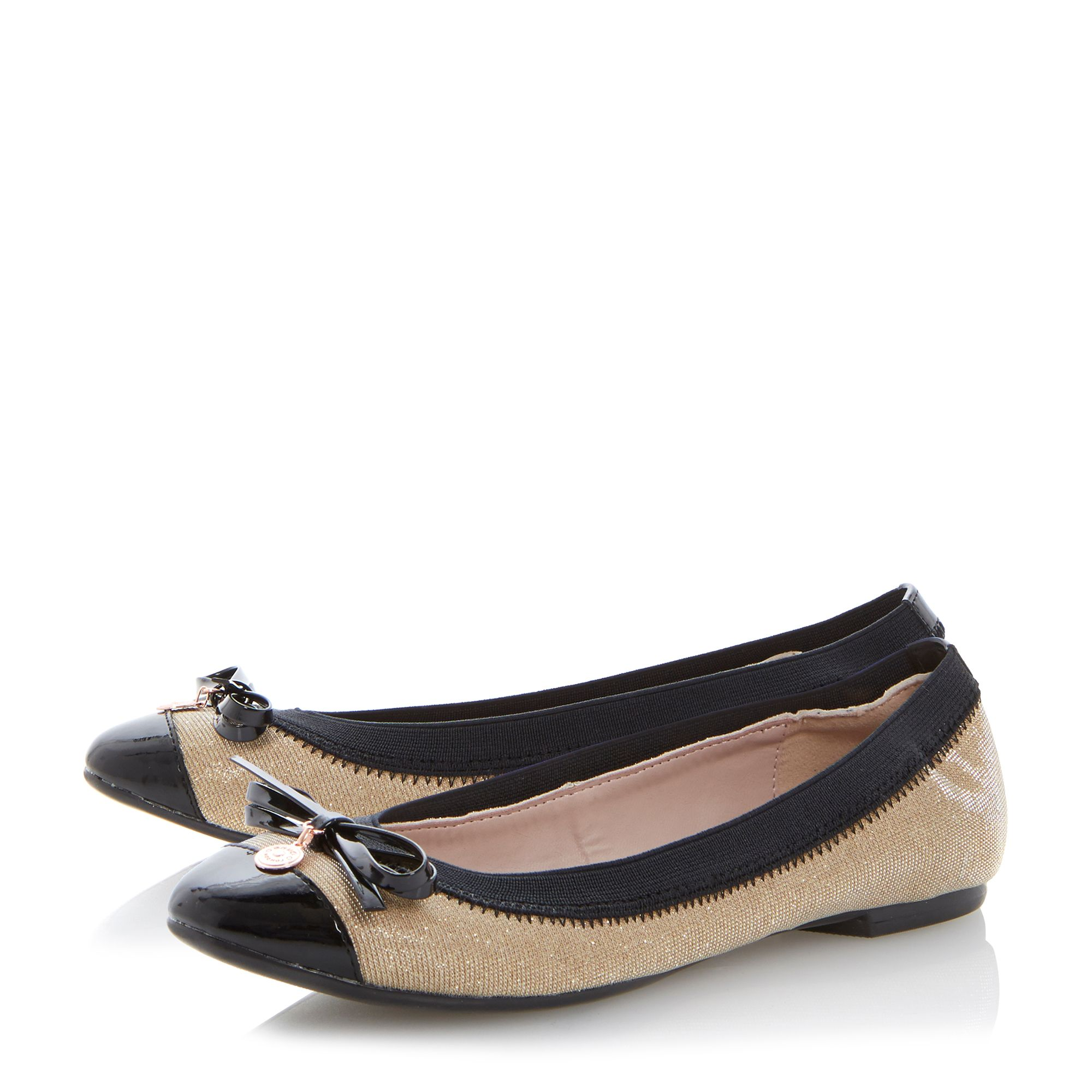 Maeby metal coin trim leather ballerina shoes