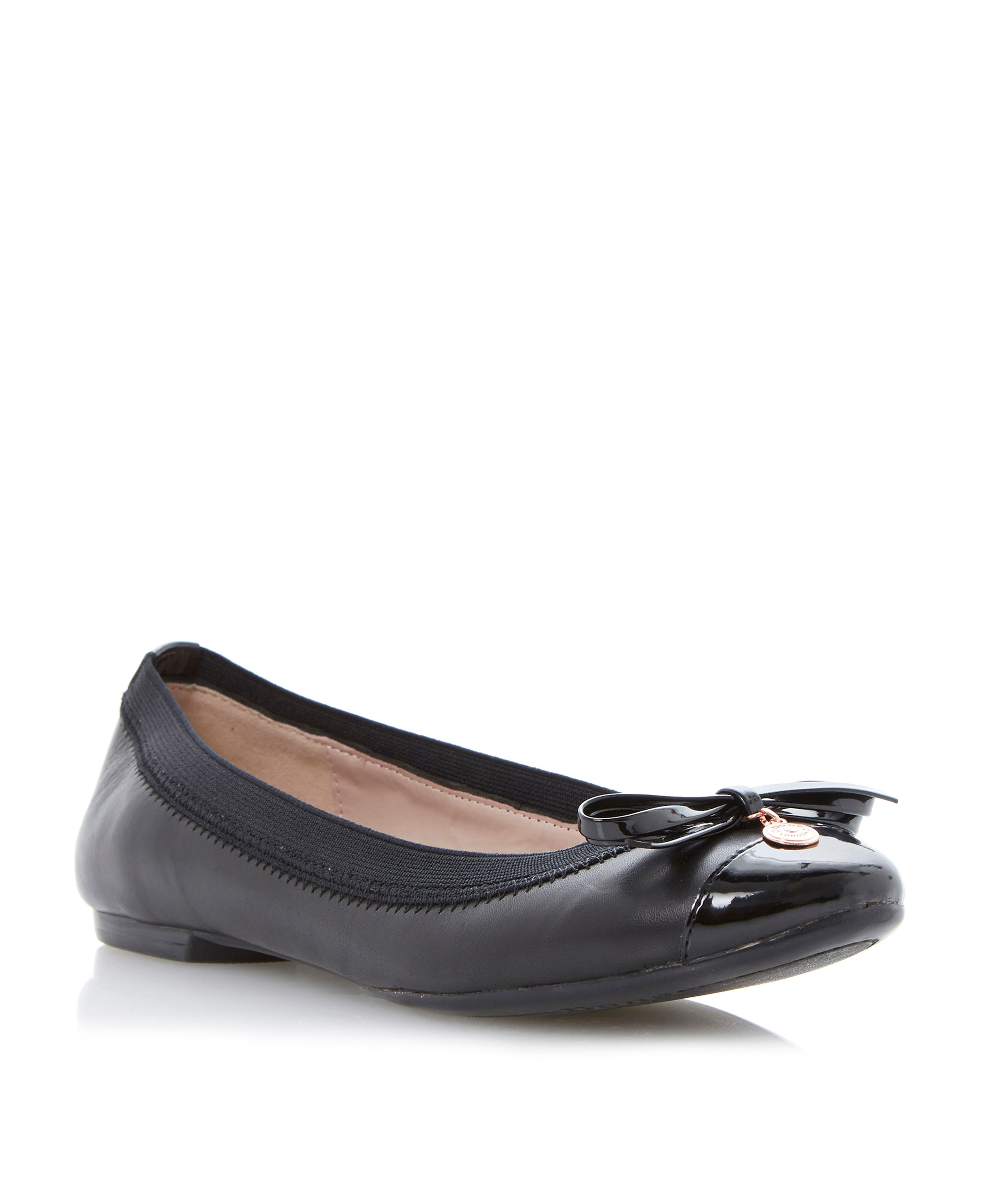 Maeby metal coin trim leather ballerina pumps