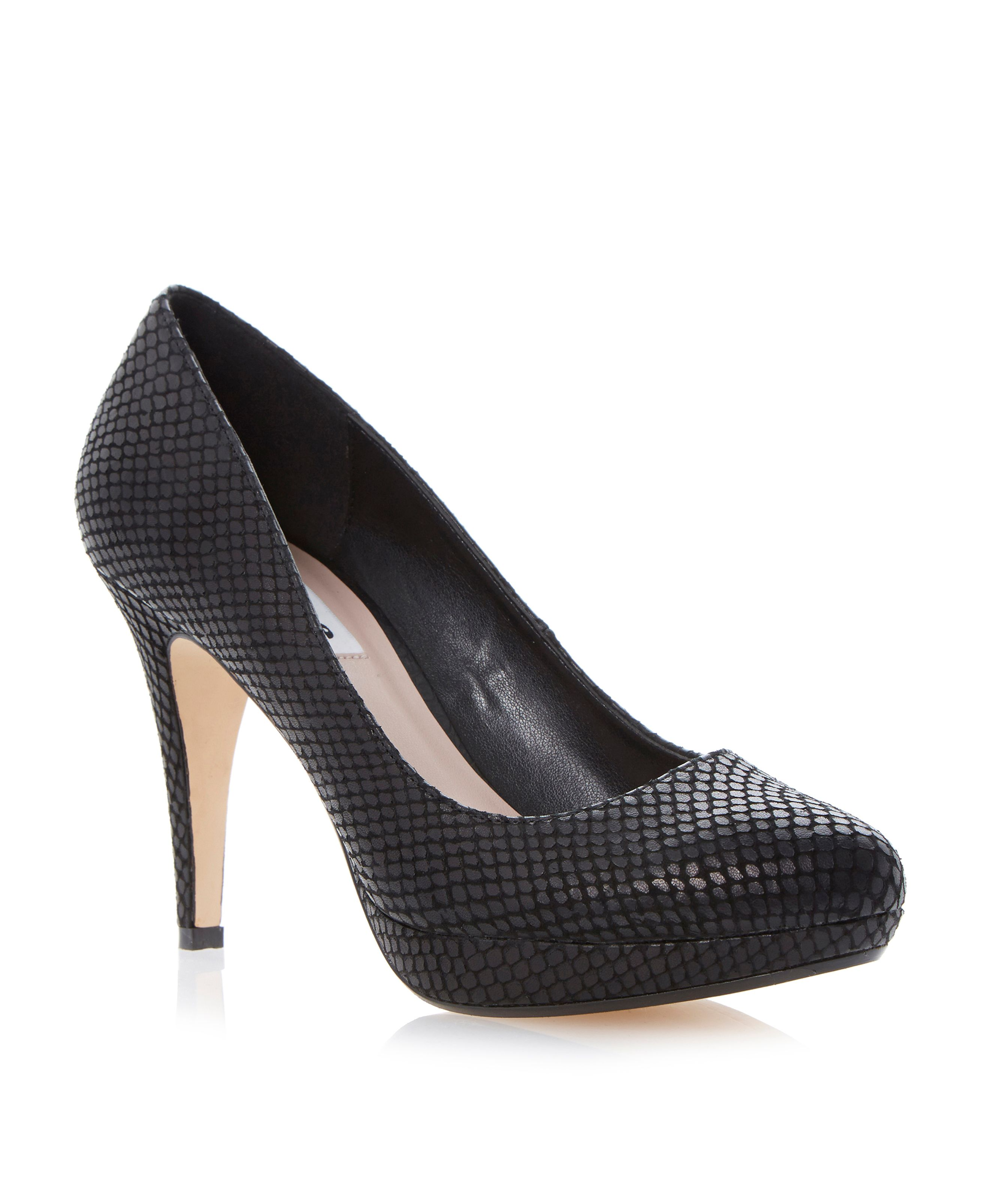 Angelinee reptile print platform court shoes