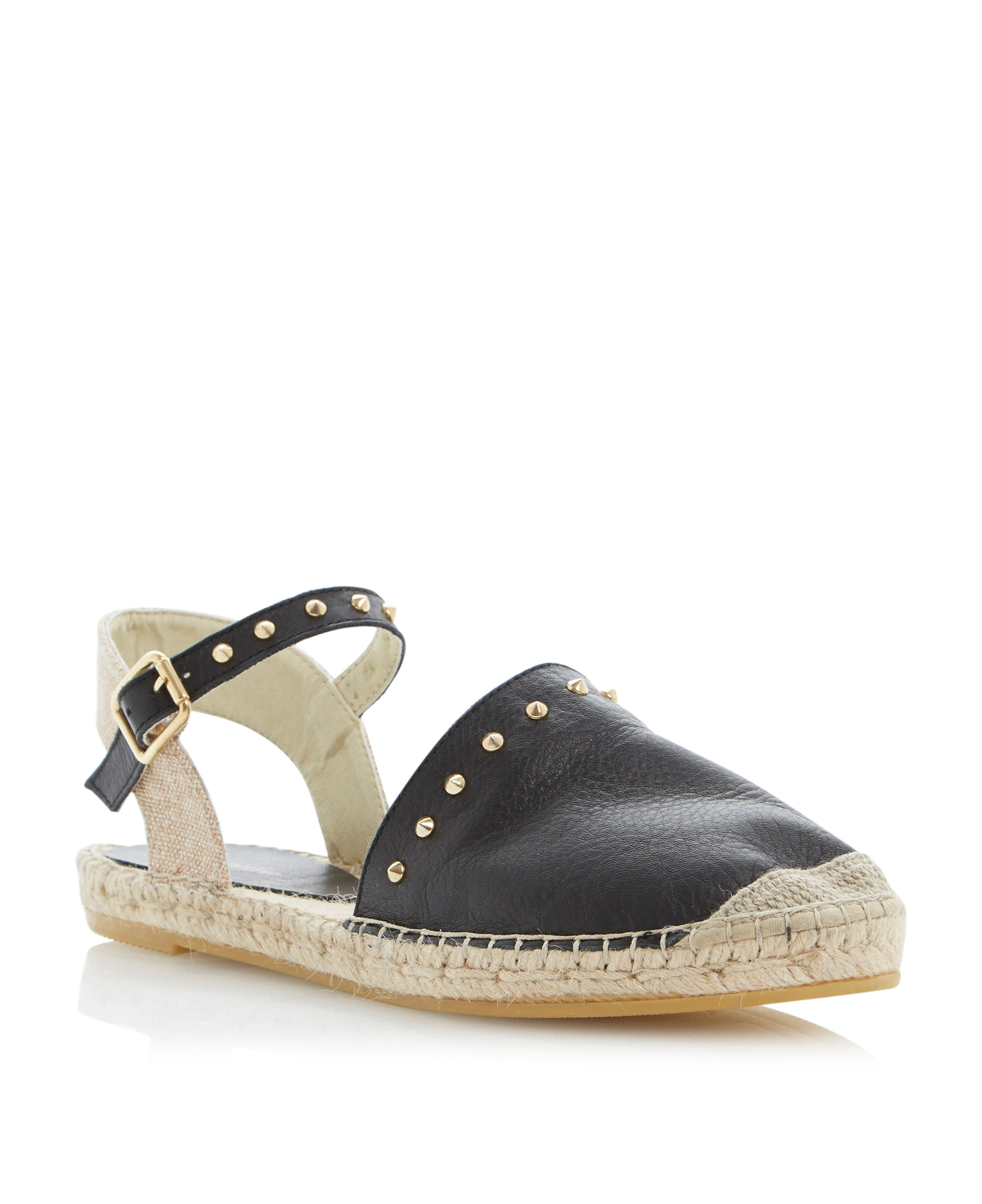 Joka leather peeptoe flat espadrille sandals