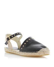 Joka leather peeptoe flat esparilles