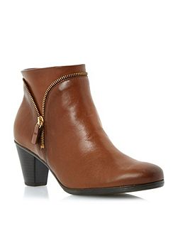 Onida Zip Detail Leather Ankle Boots