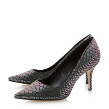 Alina pointed toe reptile print mid heel