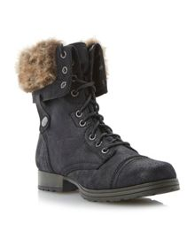 Camelot Fur Cuff Lace Up Calf Boot