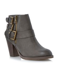 Parody Triple Buckle Detail Ankle Boots