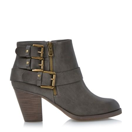 Head Over Heels Parody Triple Buckle Detail Ankle Boots