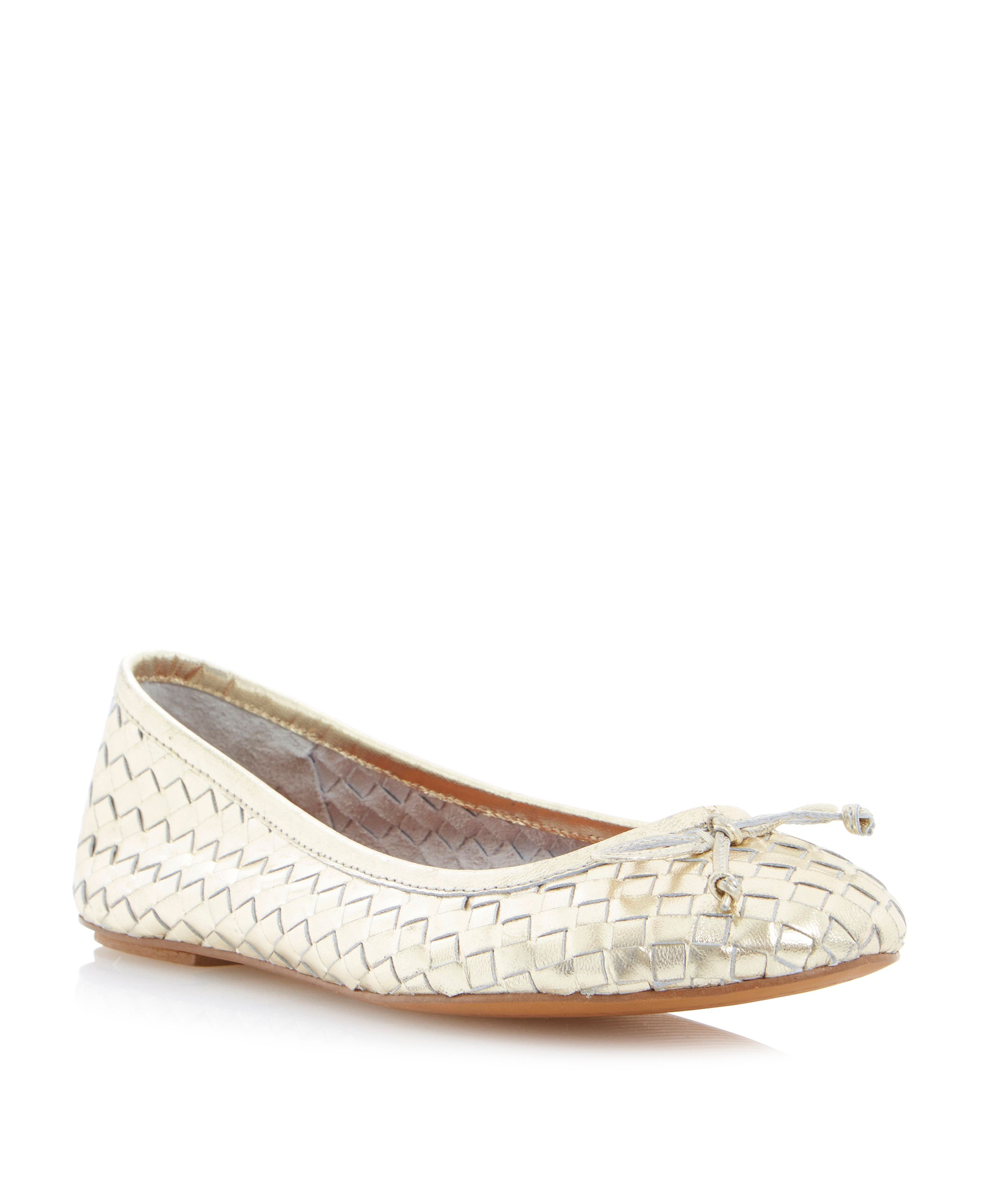Medorra leather woven ballerinas