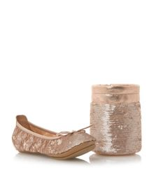 Manhattan sequin fold up ballerina shoes