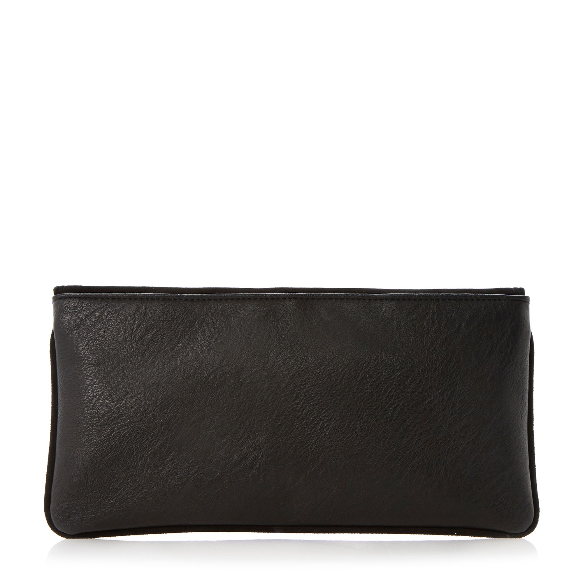 Boost suede fold over clutch bag