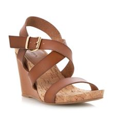 Grainne leather and cork wedge sandals