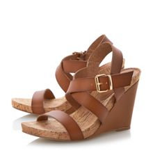 Dune Grainne leather and cork wedge sandals