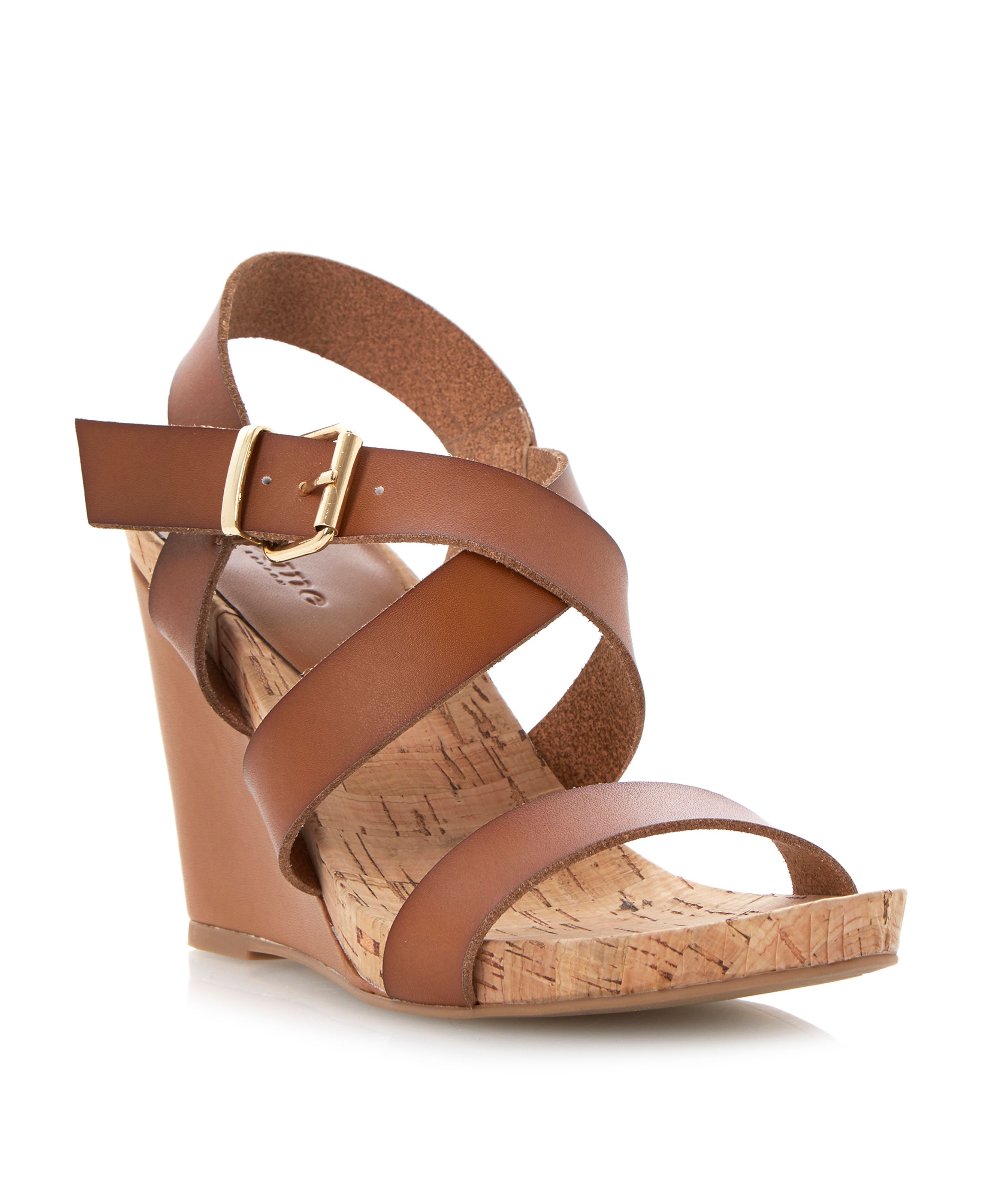 Grainne leather and cork detail wedge sandals