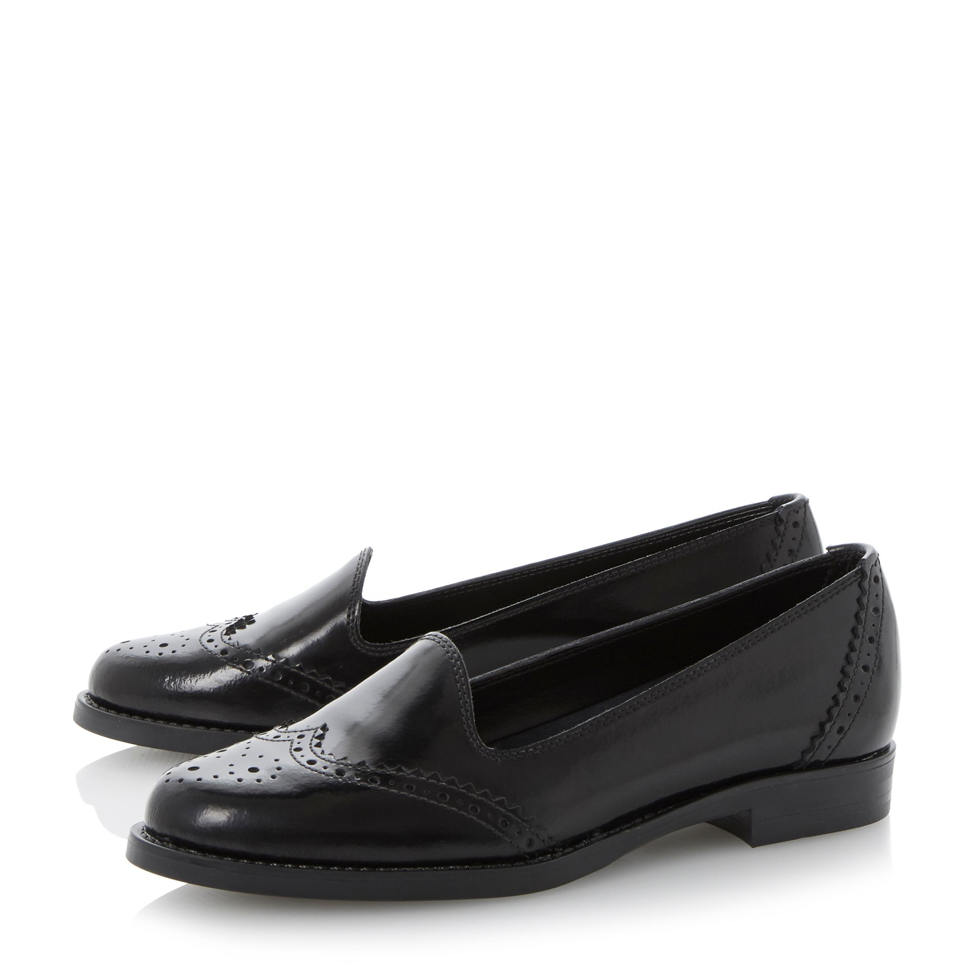 Lindon brogue detail leather loafers