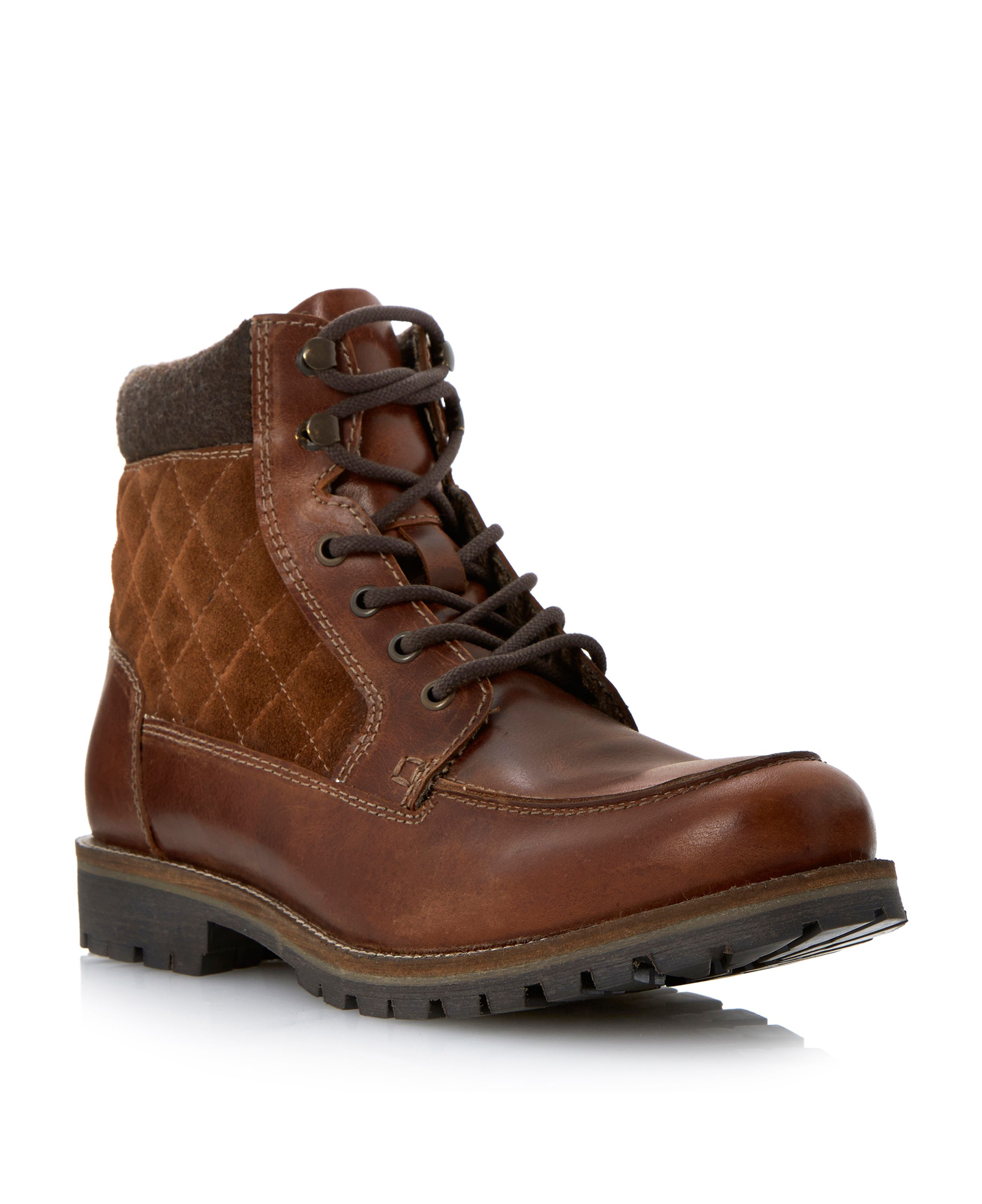 e2f0581bc86 Howick Chuck apron quilted lace up boots Tan   Shoes @ DF