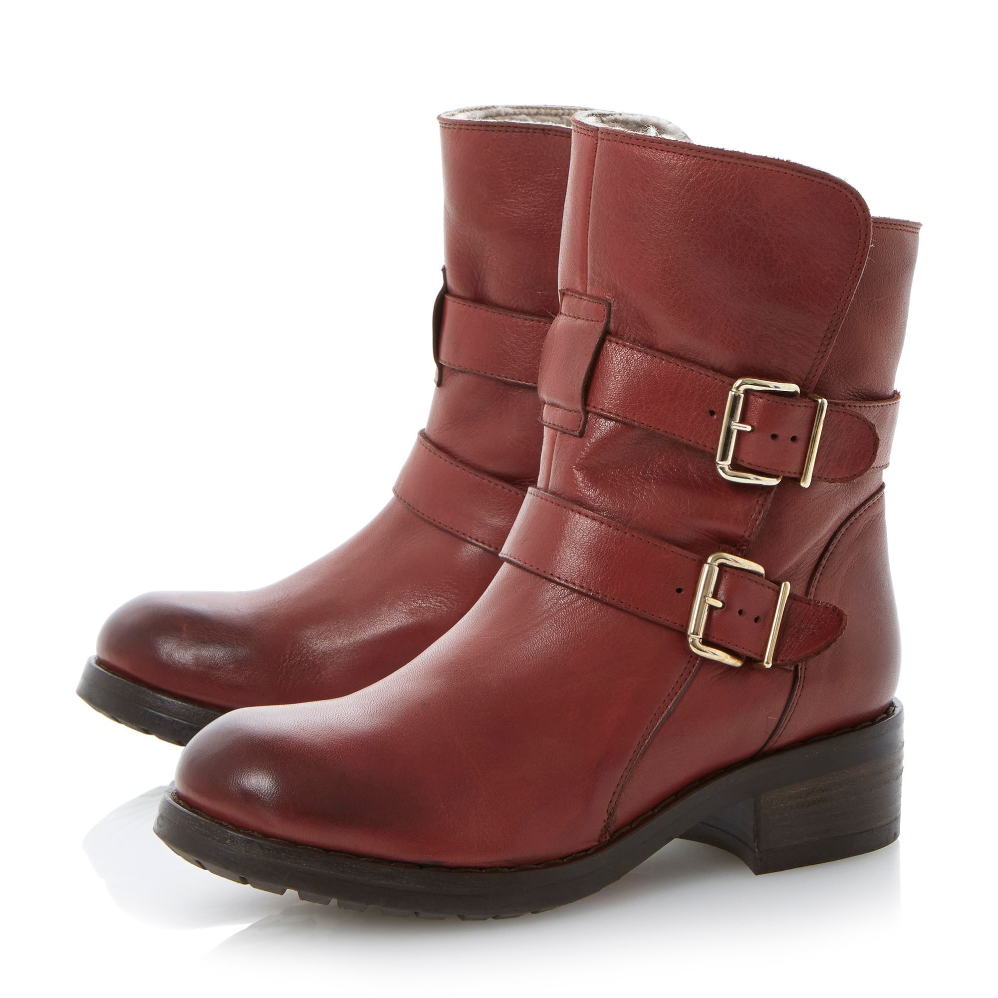 Peggy double buckle leather calf boots