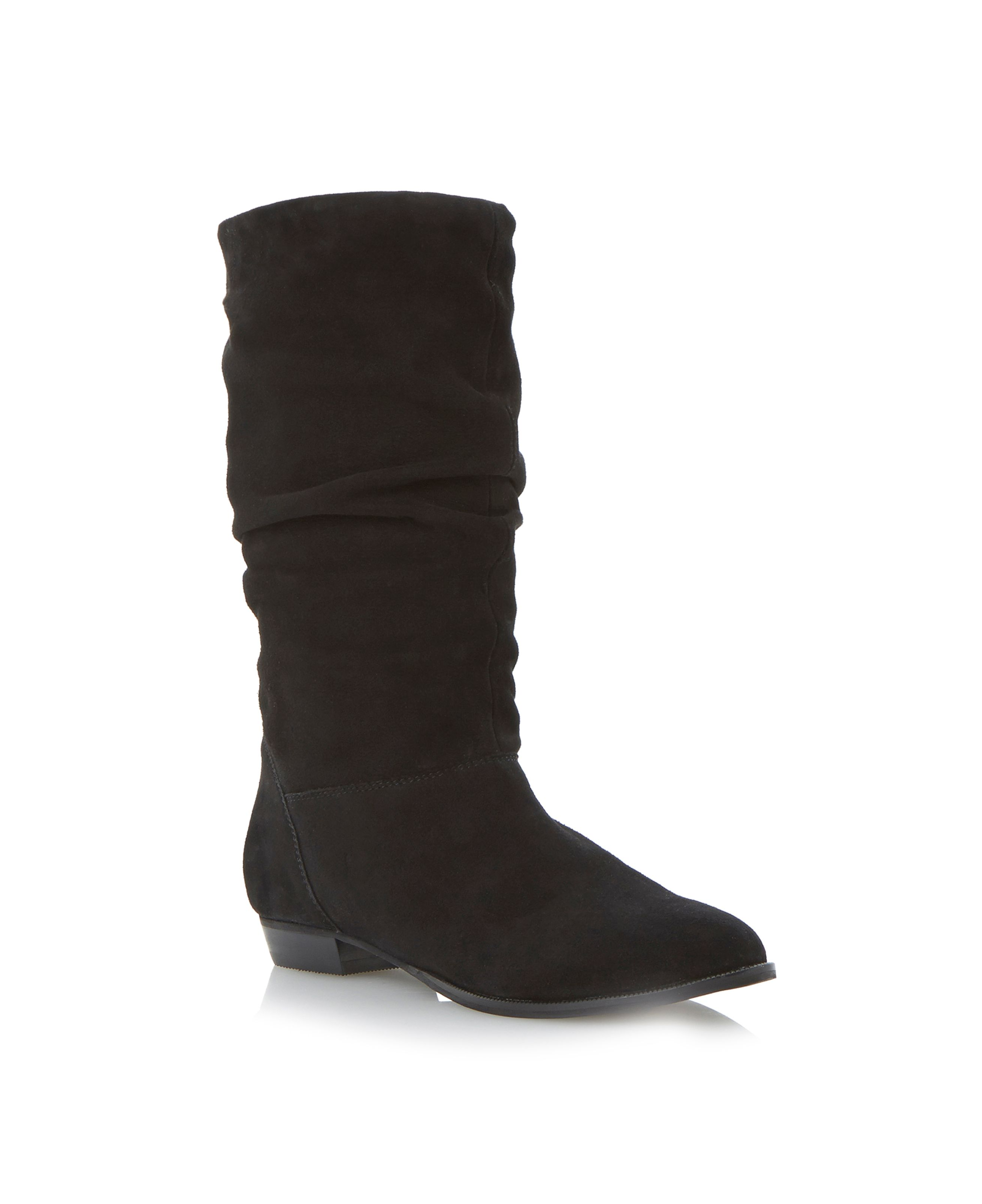 Dune Relissa slouch calf boots Black Suede