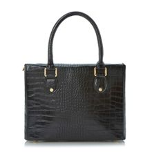 Derocky Double Lock Croc Print Satchel Bag