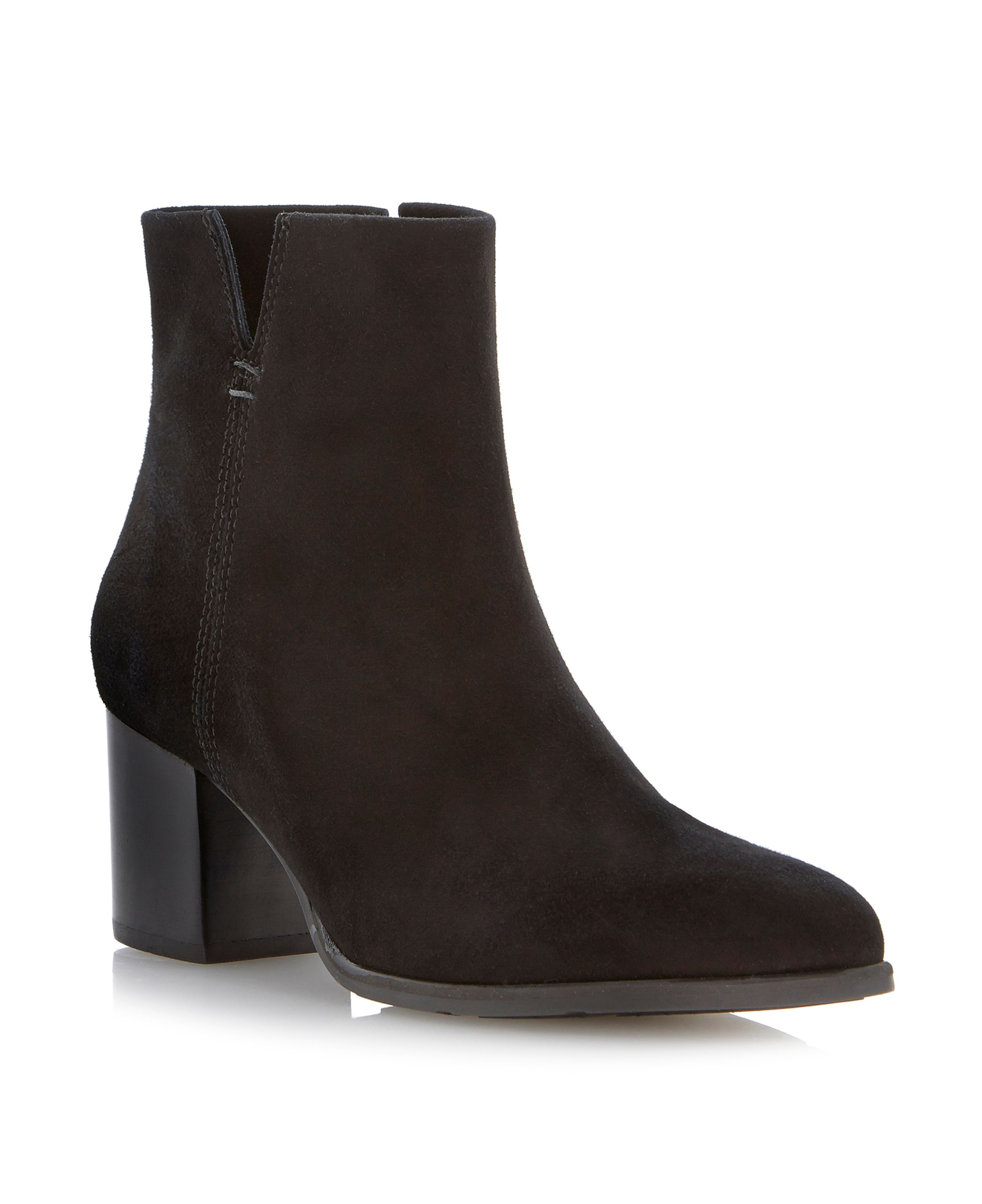Paislie stacked heel pointed toe ankle boots