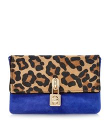Bluebell padlock suede clutch bag