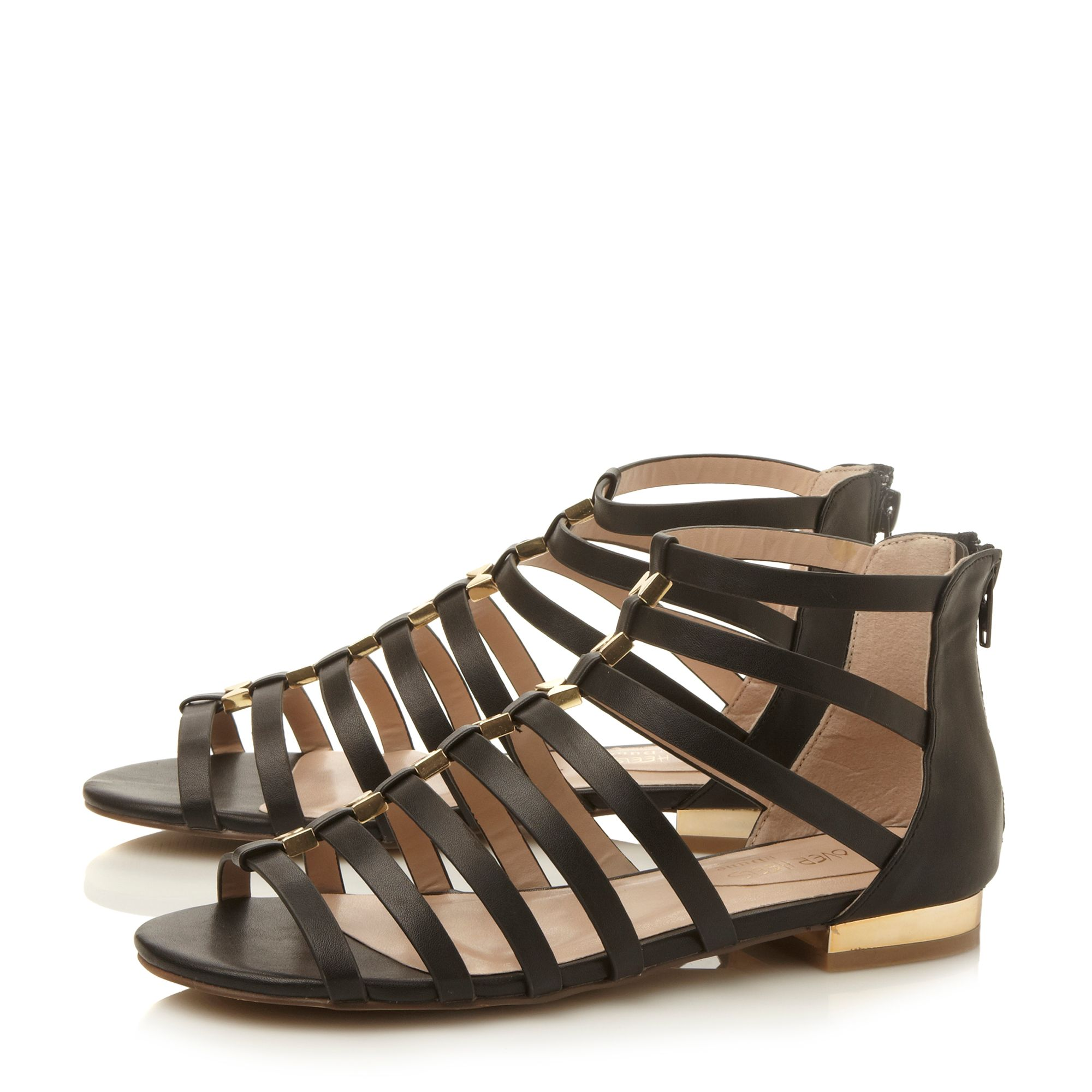 Corfu caged flat sandals