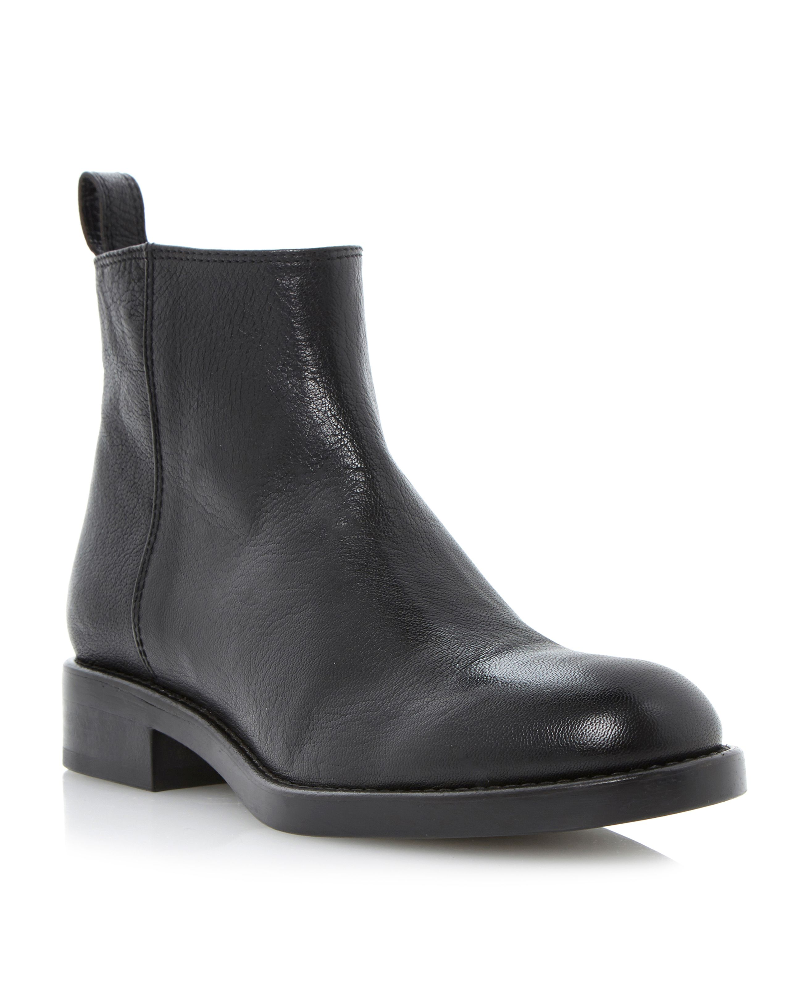 Phillip side zip flat ankle boots