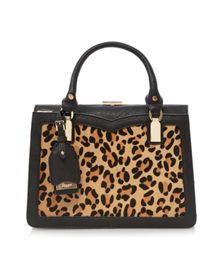 Daphne Pony Leopard Print Structured Bag
