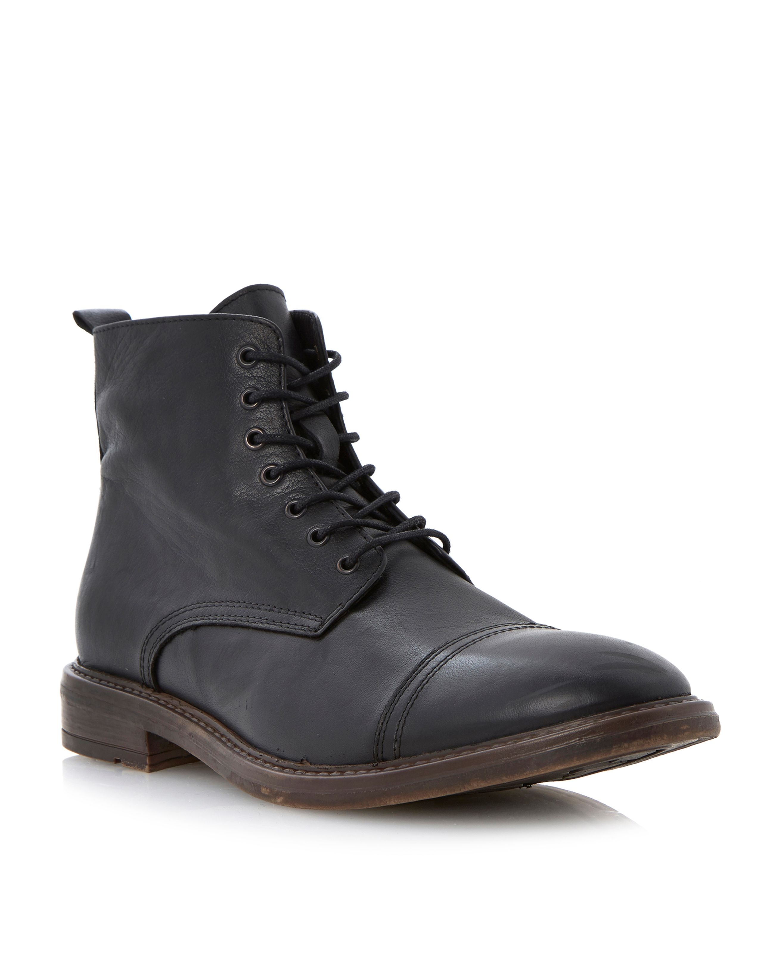 Combat toecap cleated lace up boots