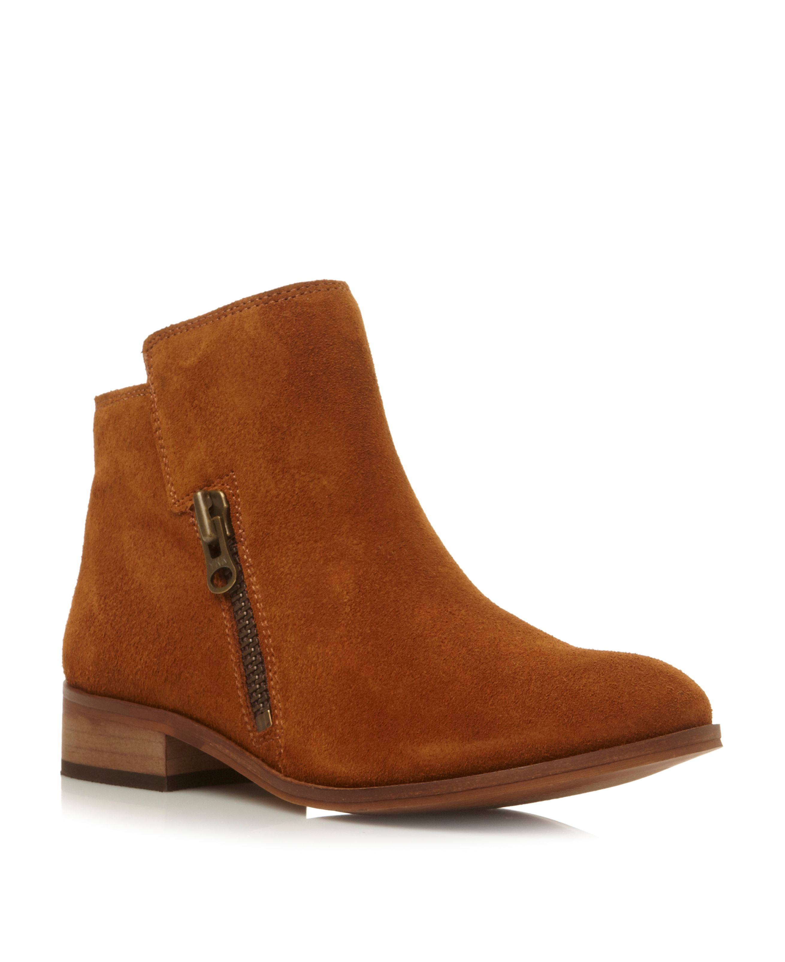 Pashion block size zip ankle boots
