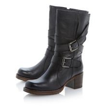Rocking Buckle Detail Leather Calf Boot