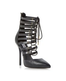 Lace Up Caged Effect Court Shoe
