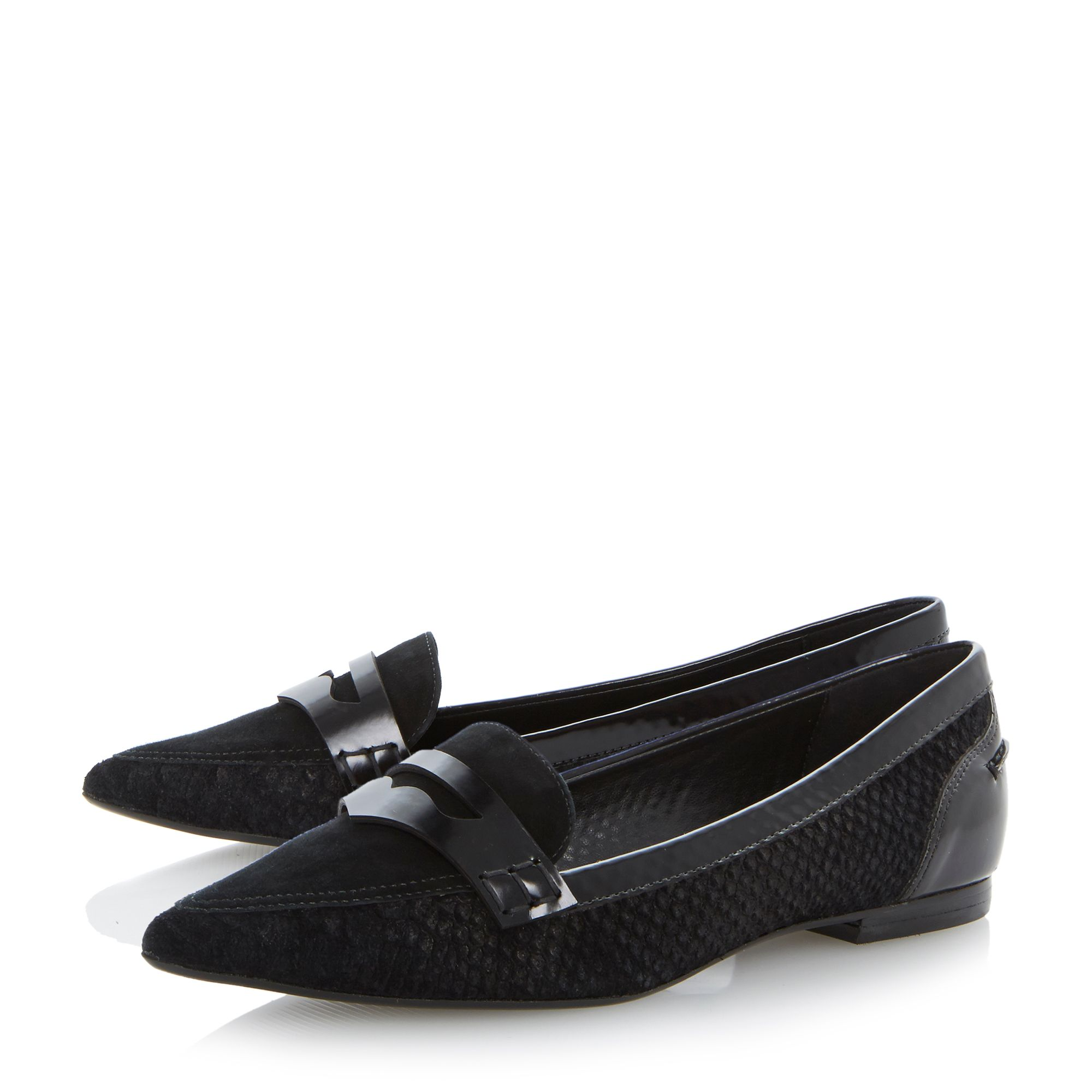 Lyndon pointed toe saddle trim leather loafers